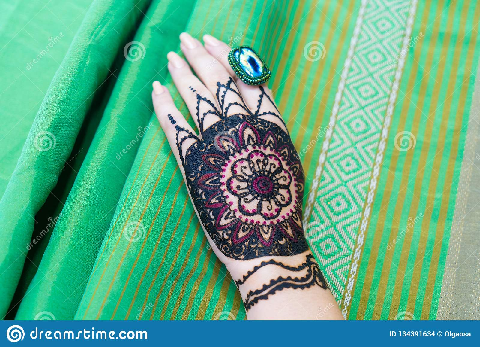 Drawing Henna Mandala On Woman Hand Stock Photo Image Of Bright