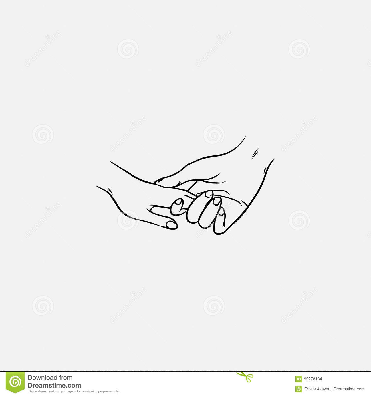 Drawing of holding hands isolated on white background symbol of love dating close relationship intimacy and romance hand drawn black and white vector