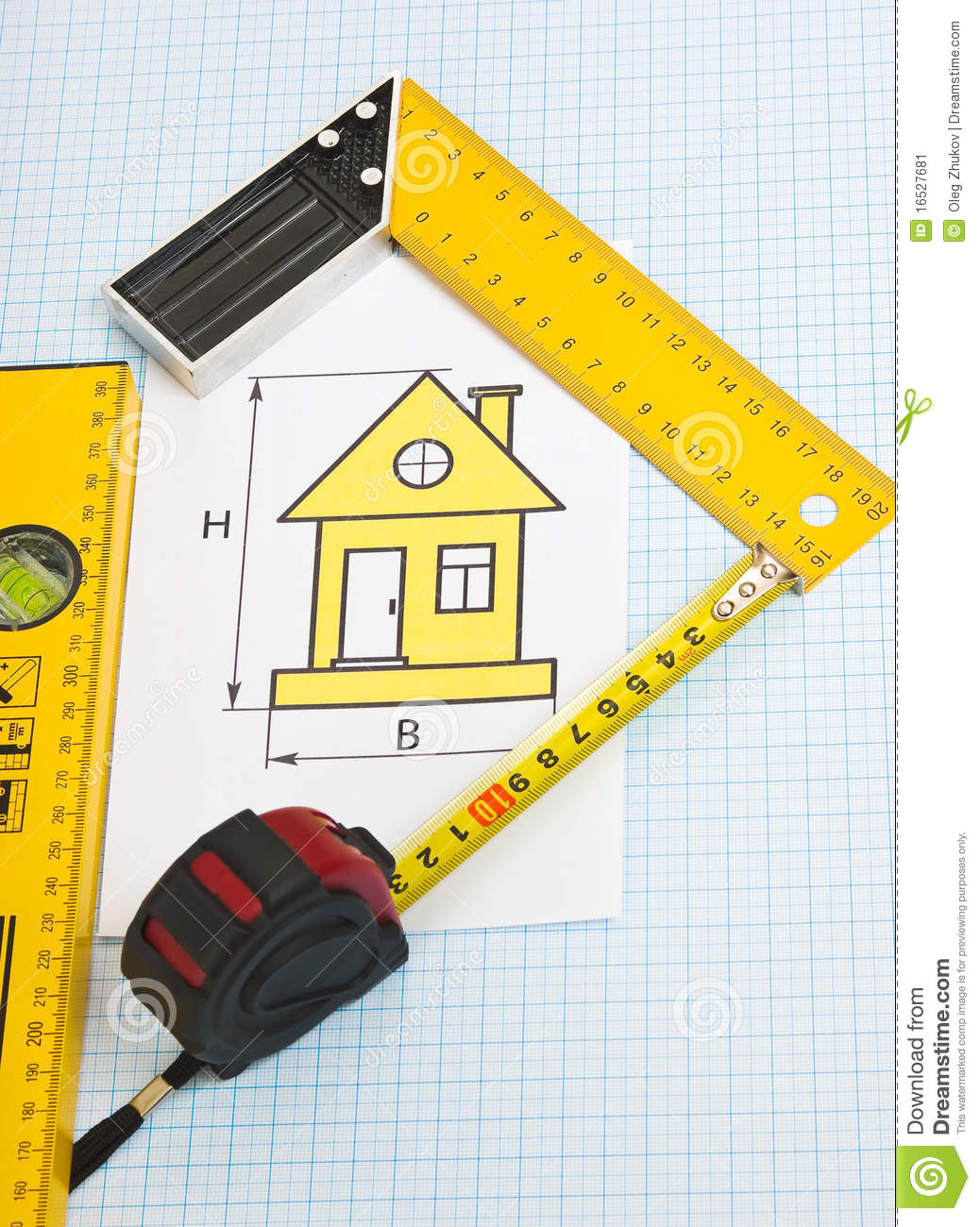 Drawing At Home With Construction Tools Stock Image