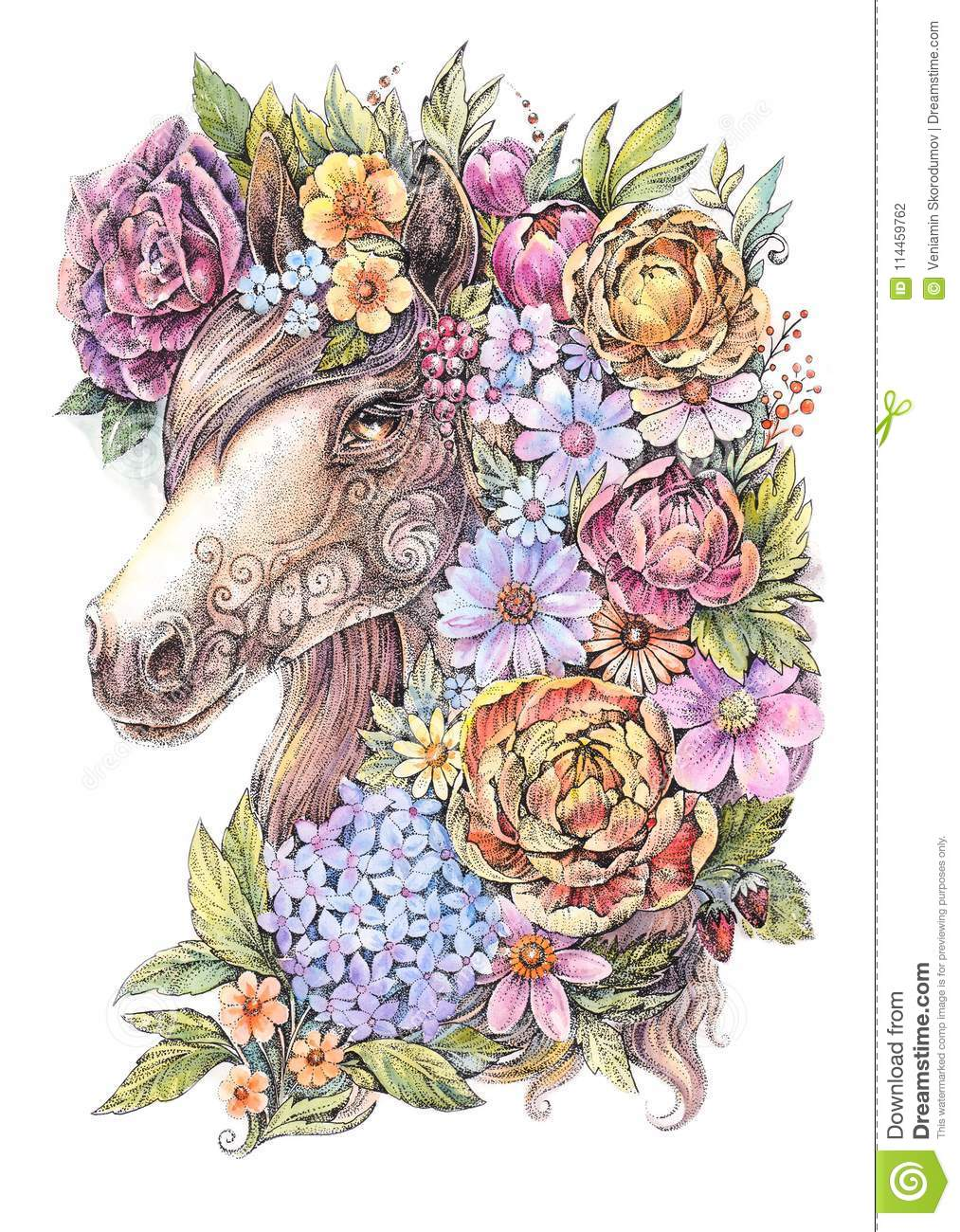 Drawing Horse In Flowers Watercolor Tattoo Stock Illustration Illustration Of Retro Portrait 114459762