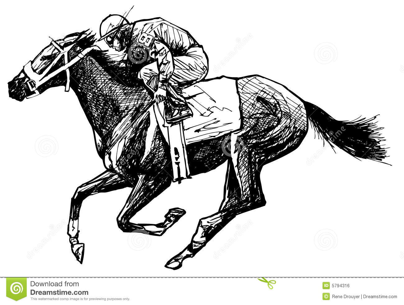 Drawing Of A Horse And Rider Stock Vector Illustration Of Chance