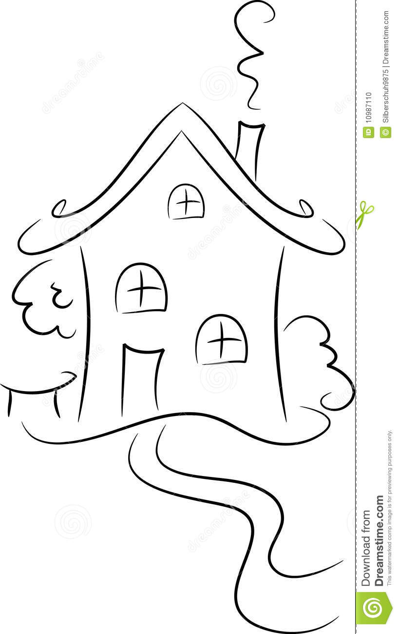 Drawing Of A House Stock Photo