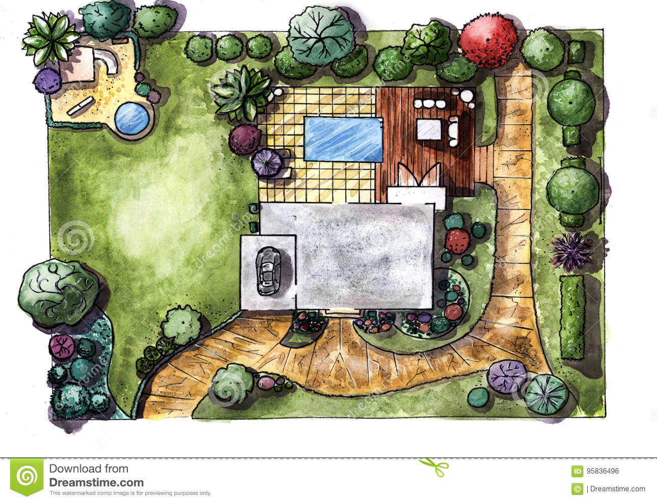 Drawing House Garden Cottage. The View From The Top Stock ... on roof garden design, florida garden design, interior garden design, tree garden design, landscape design, home and garden design, garden design product, beautiful garden design, city garden design, garden sheds, small front yard design, food garden design, japanese garden design, garden stage design, small garden design, kitchen design, vertical garden design, herb garden design, greenhouse design, garden bedroom design,