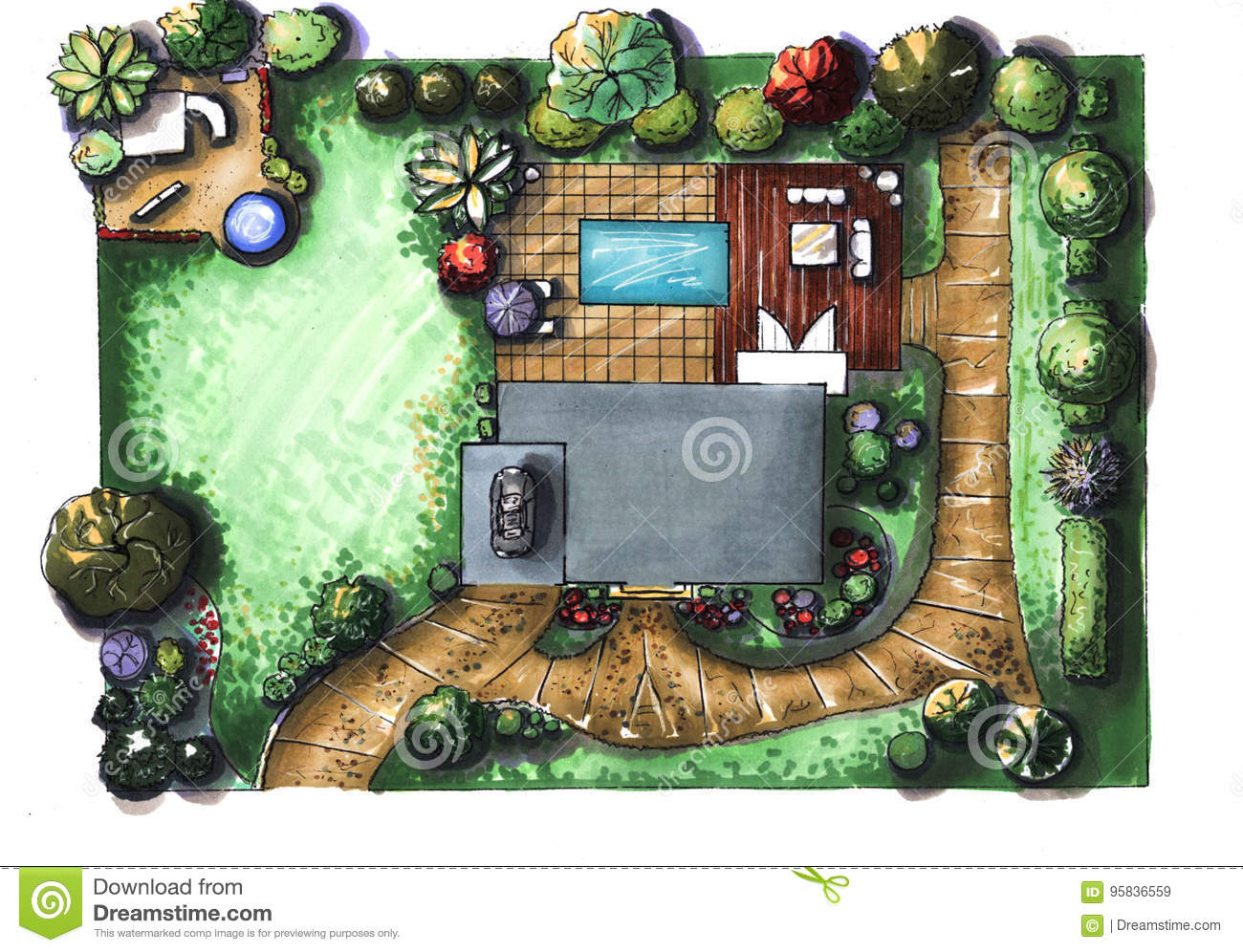 Drawing house garden cottage the view from the top stock for Small house design top view