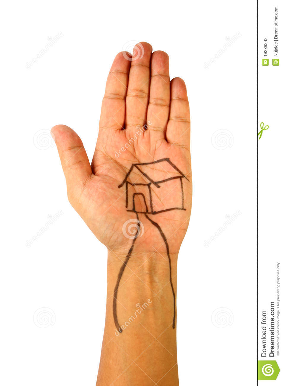 Drawing of house on hand