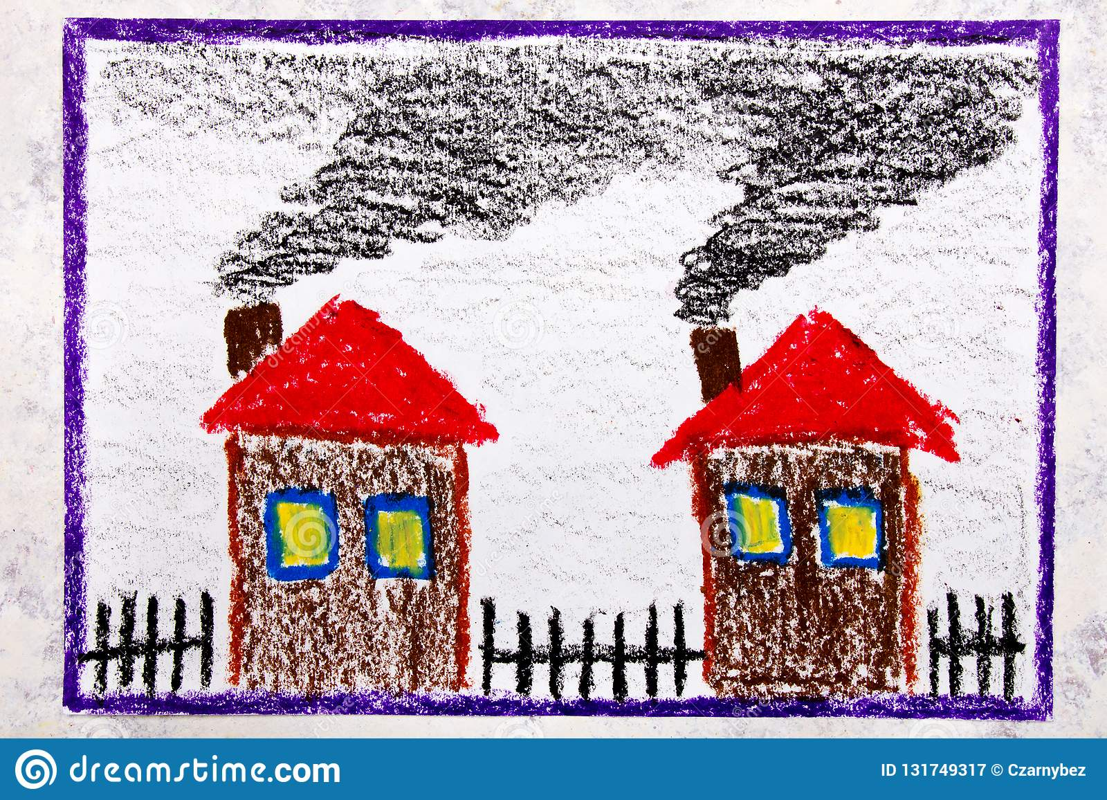 Colorful hand drawing house with smoke from the chimney the problem of smog and air lution
