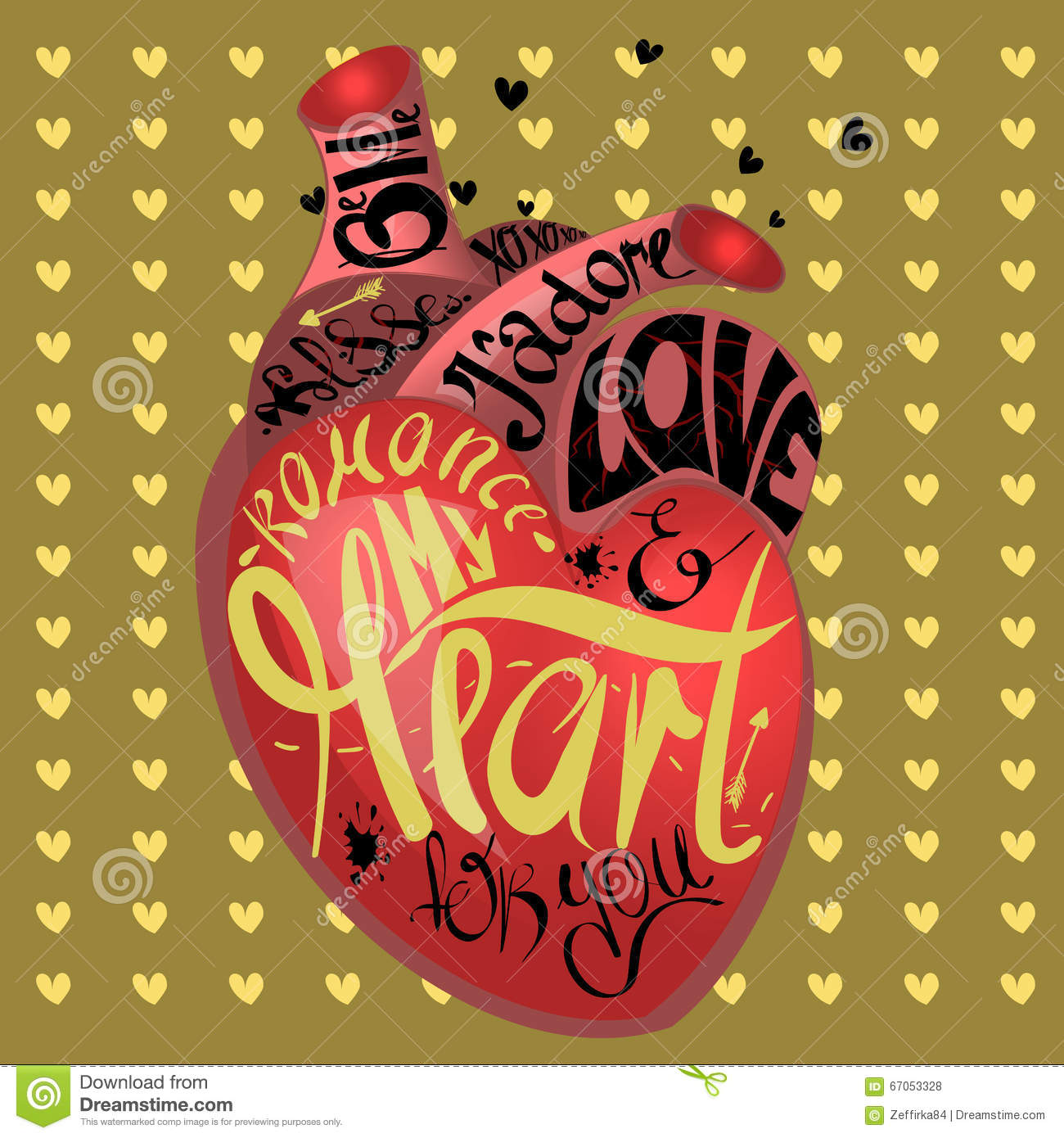 Drawing The Human Heart On Gold Background Pattern Of Cartoon Hearts Humor Comic Style Gothic Text My For You Love And Romantic