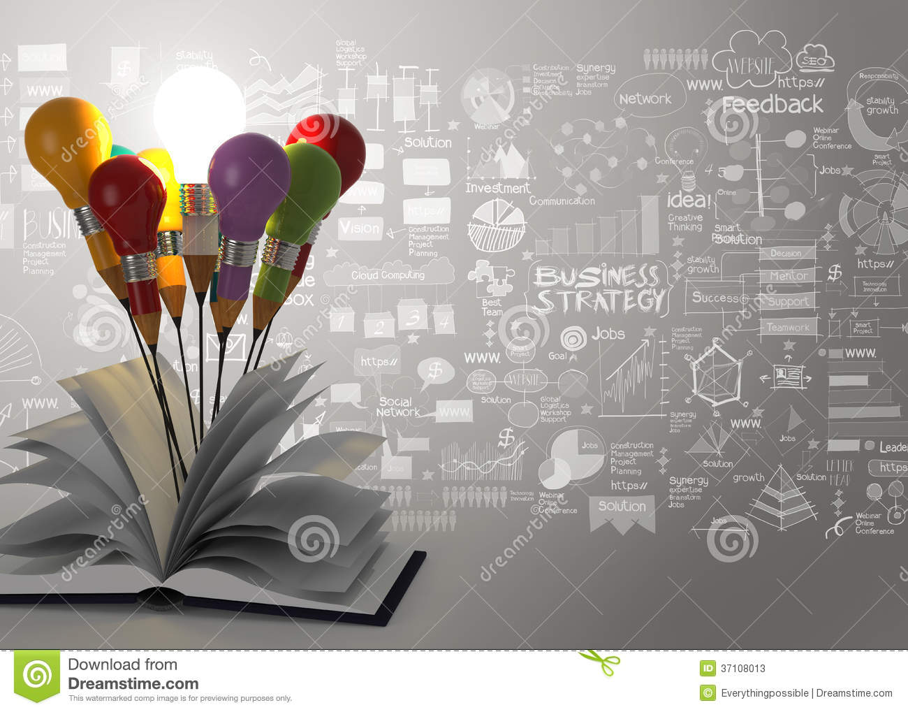 Drawing Idea Pencil Light Bulb And Open Book Business Strategy Stock Image Image 37108013