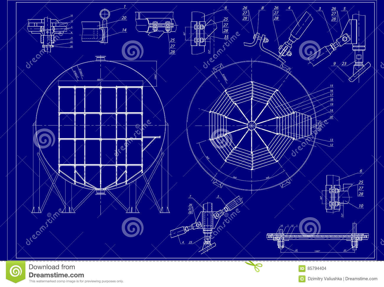Drawing of installation scaffolding into spherical gasholder stock drawing of installation scaffolding into spherical gasholder vector background technical design engineering backgrounds blueprints blue and white malvernweather Gallery