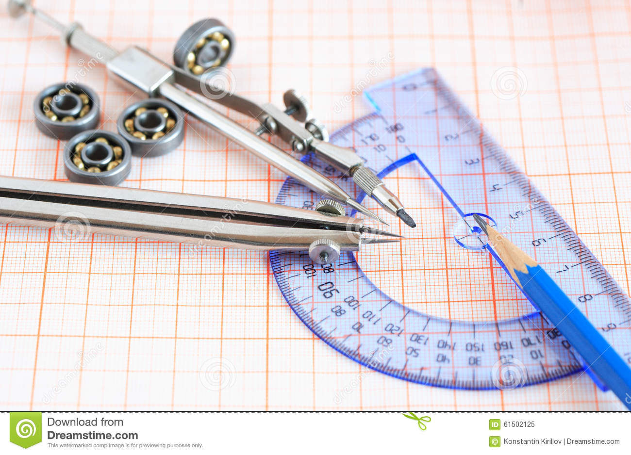 drawing instrument on graph paper stock image image of drafting