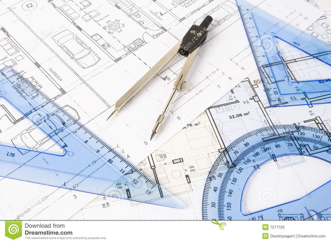 drawing instruments stock image image of plan format