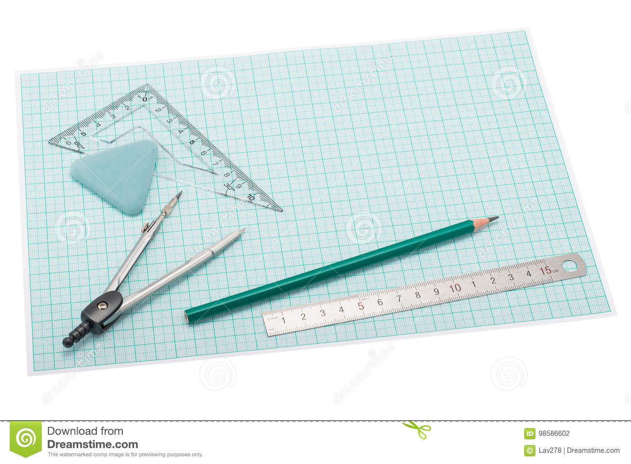 drawing instruments lying on plotting paper stock photo image of