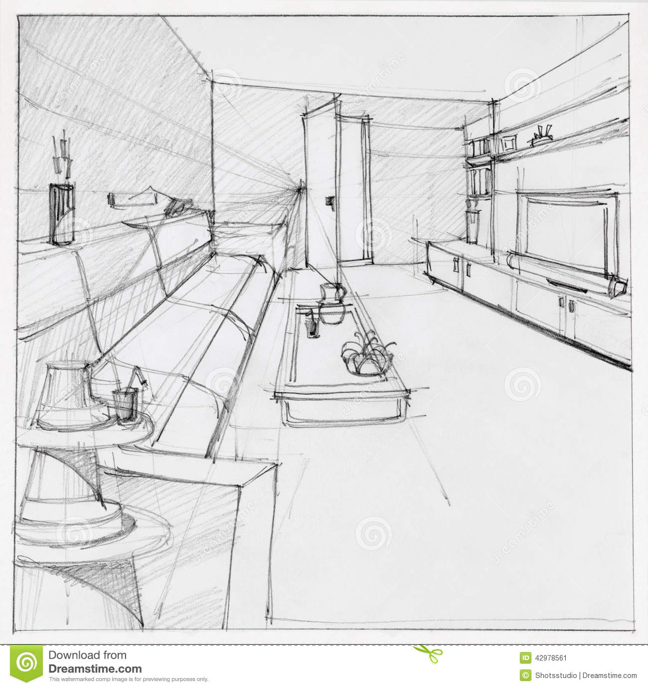 Drawing of interior living room stock illustration for Living room drawing