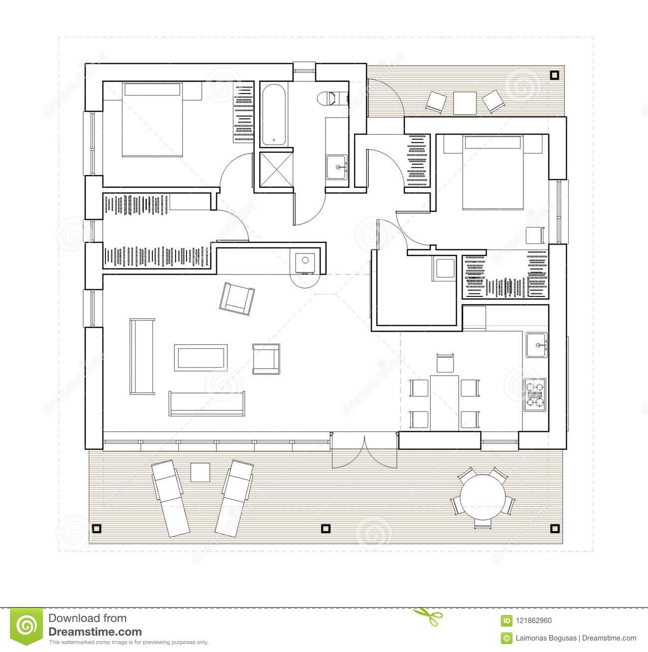 Drawing - Isolated Floor Plan Of The Single Family House