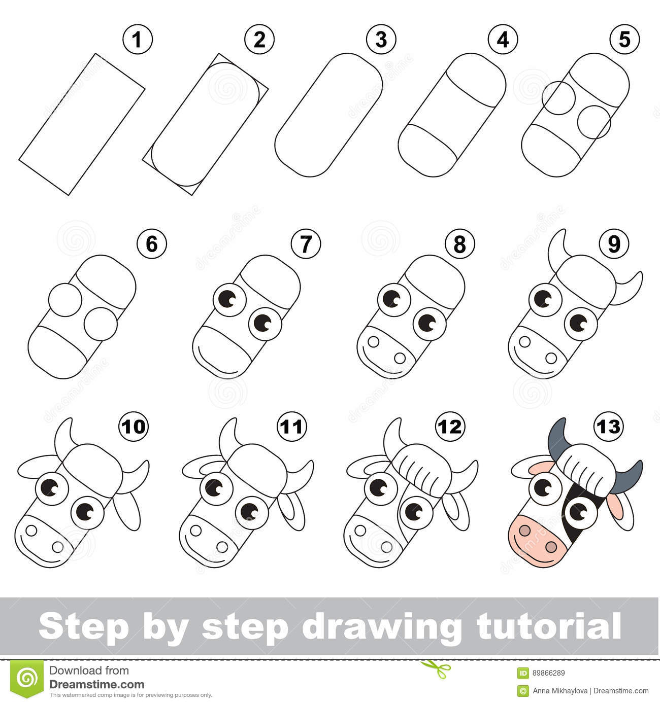 Drawing kid tutorial. stock vector. Illustration of simple ...