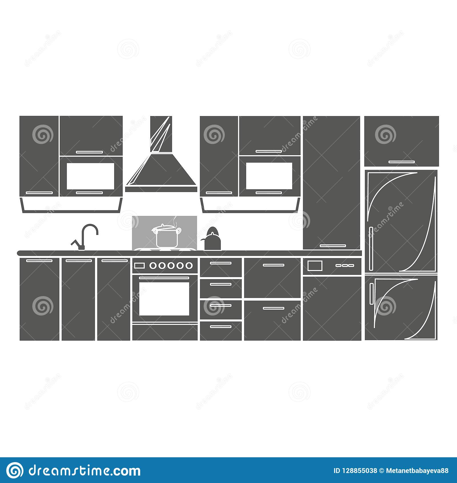 Drawing kitchen interior plan icon vector illustration for Interior design web app