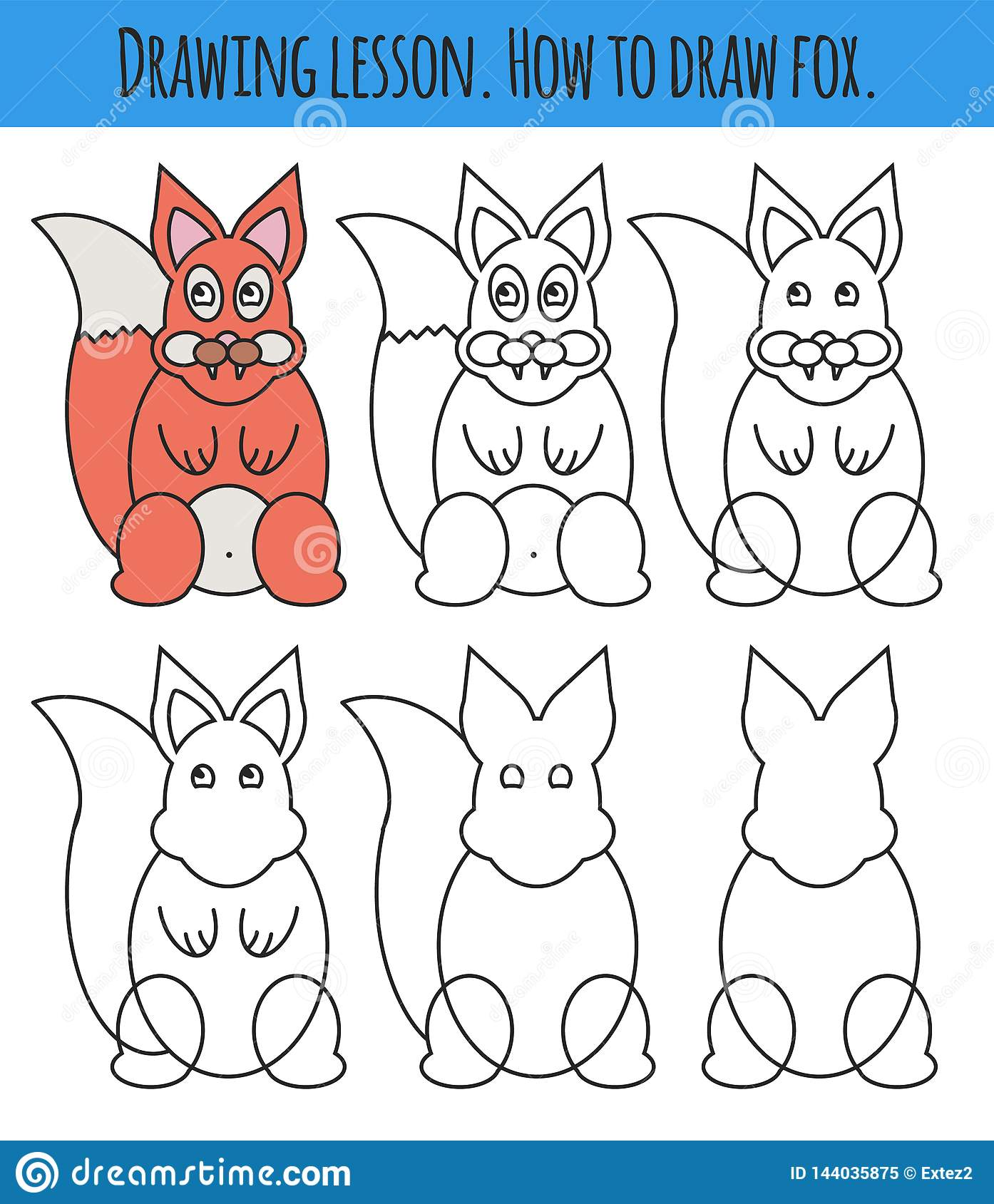 Drawing Lesson For Children How Draw A Cartoon Cute Fox