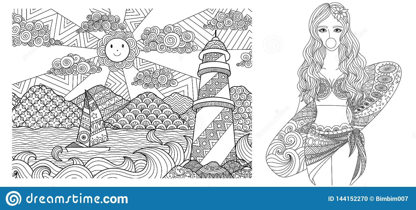 lady on the beach for adult coloring