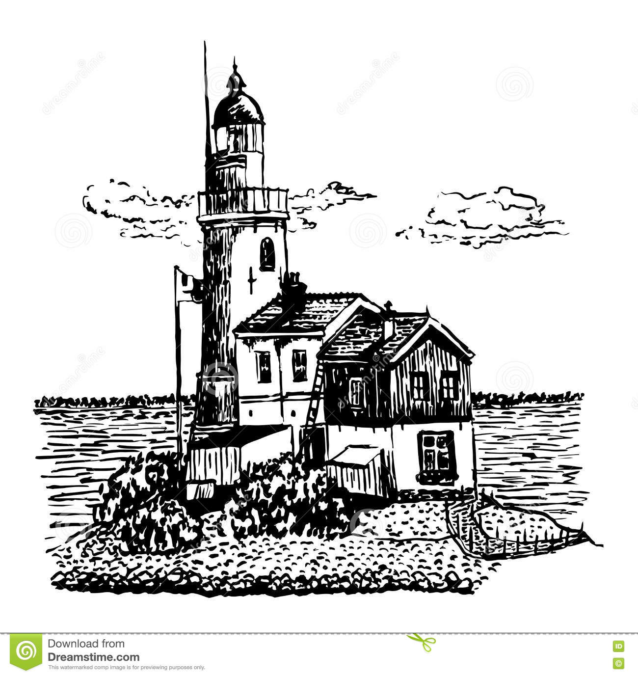 Lighthouse drawing vector illustration for Two story house drawing