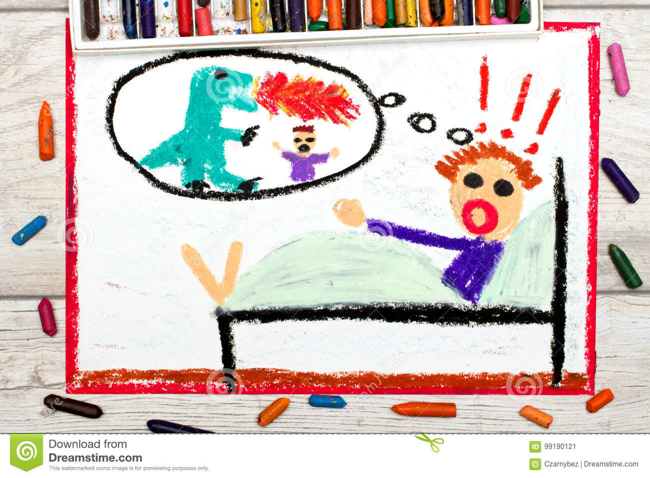 Drawing: little boy has nightmares. Scary nightmare creature