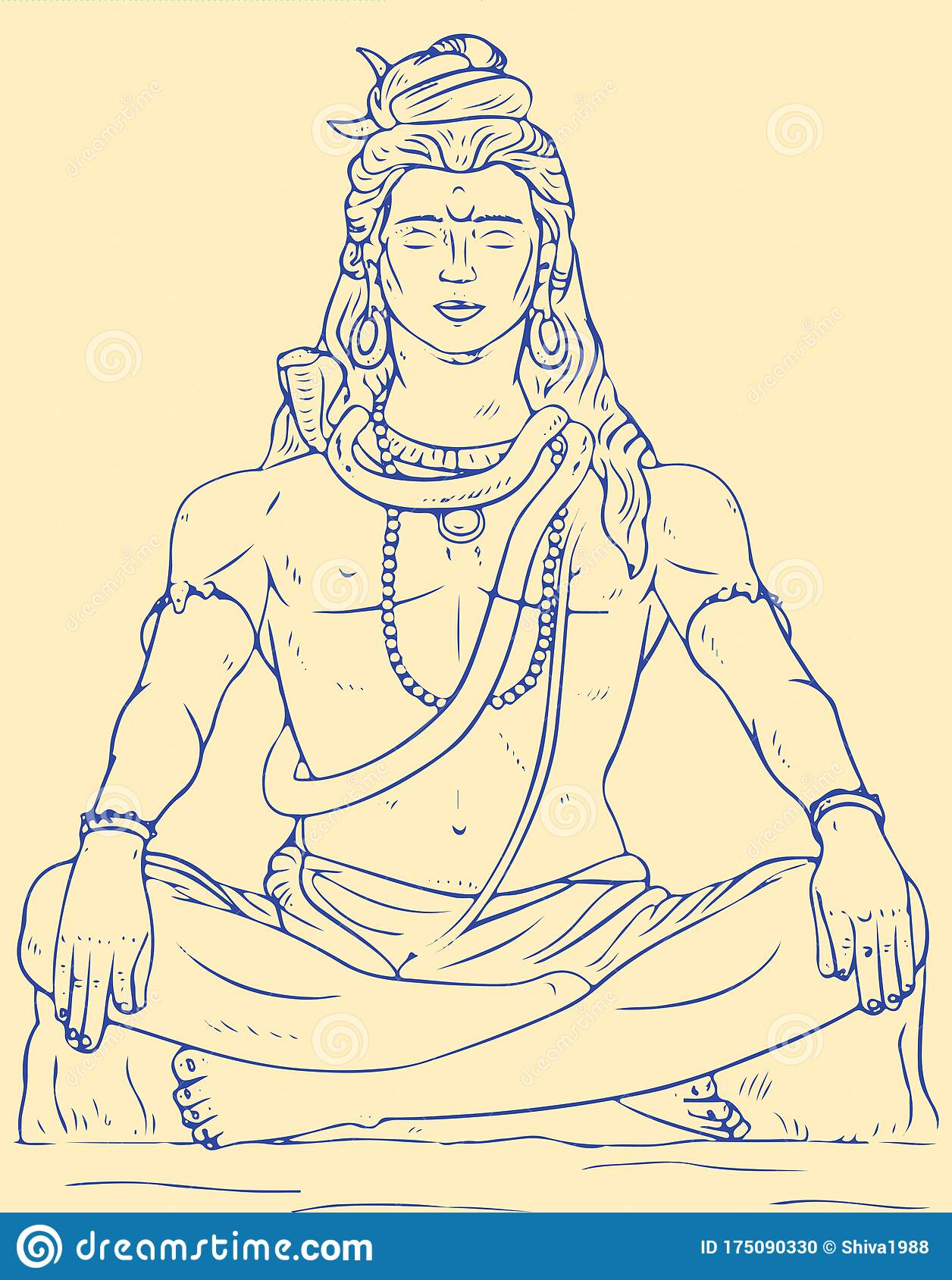 Drawing Of Lord Shiva Sit And Doing Meditation Stock Vector