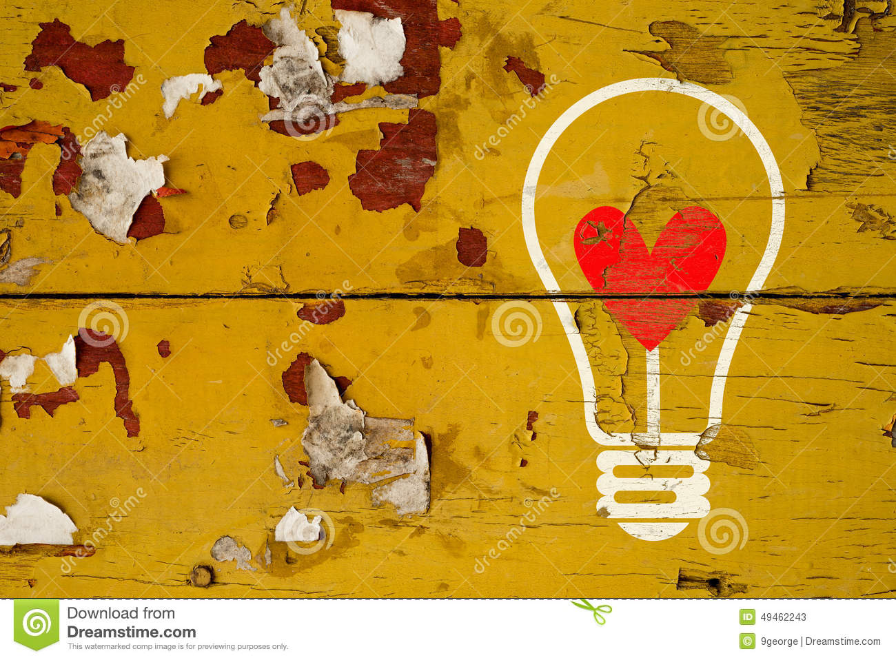 Drawing Love Symbol In Light Bulb On Old Wooden Wall Stock Photo - Image: 49462243