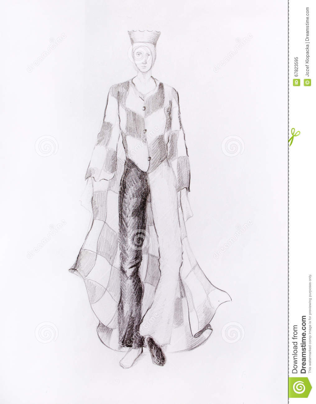 Drawing Male Fashion Clothes With A Checkerboard Pattern Chess King Color Pencil Sketch On Paper Stock Illustration Illustration Of Crown Cape 67823595