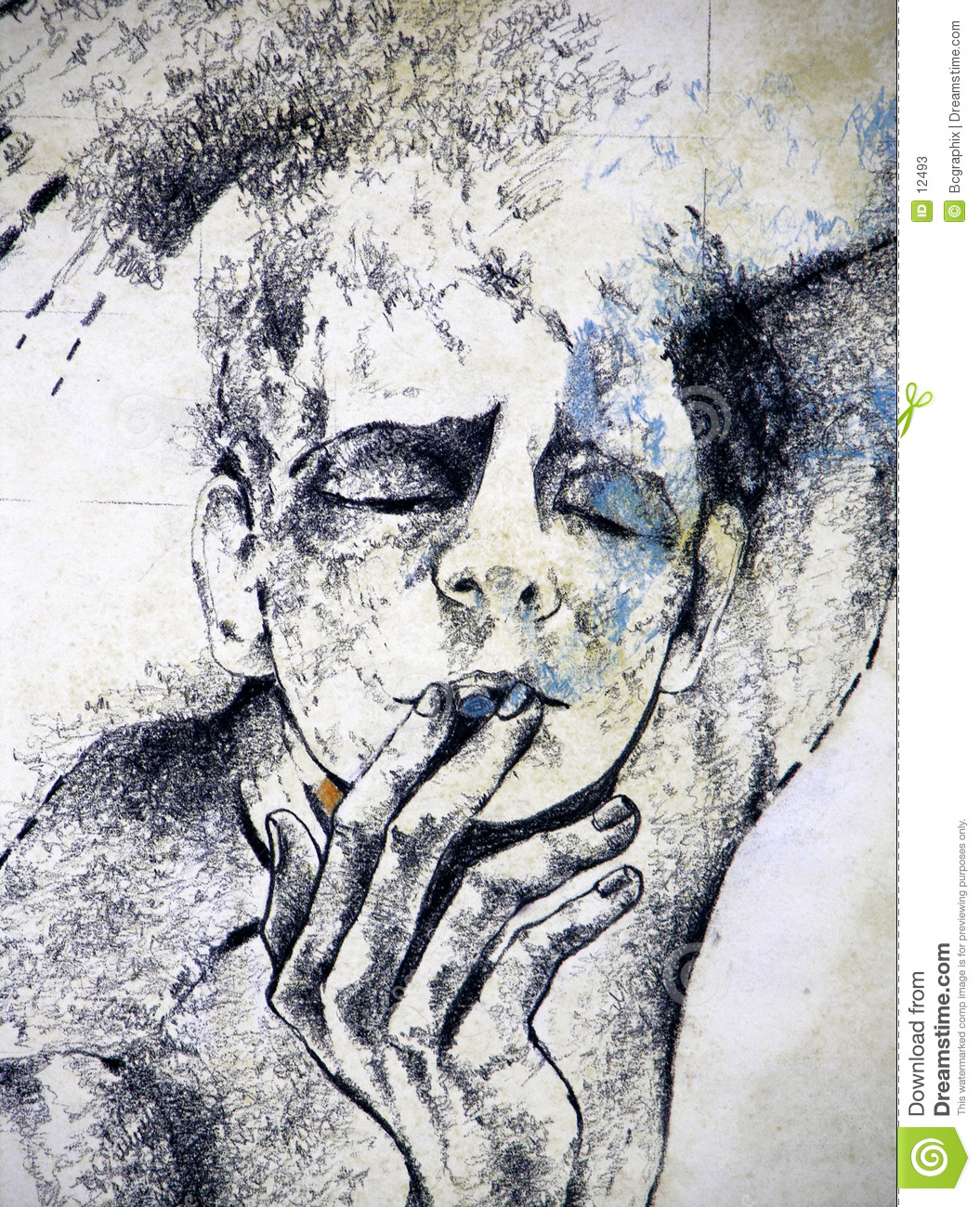 Drawing of a man smoking a cigarette