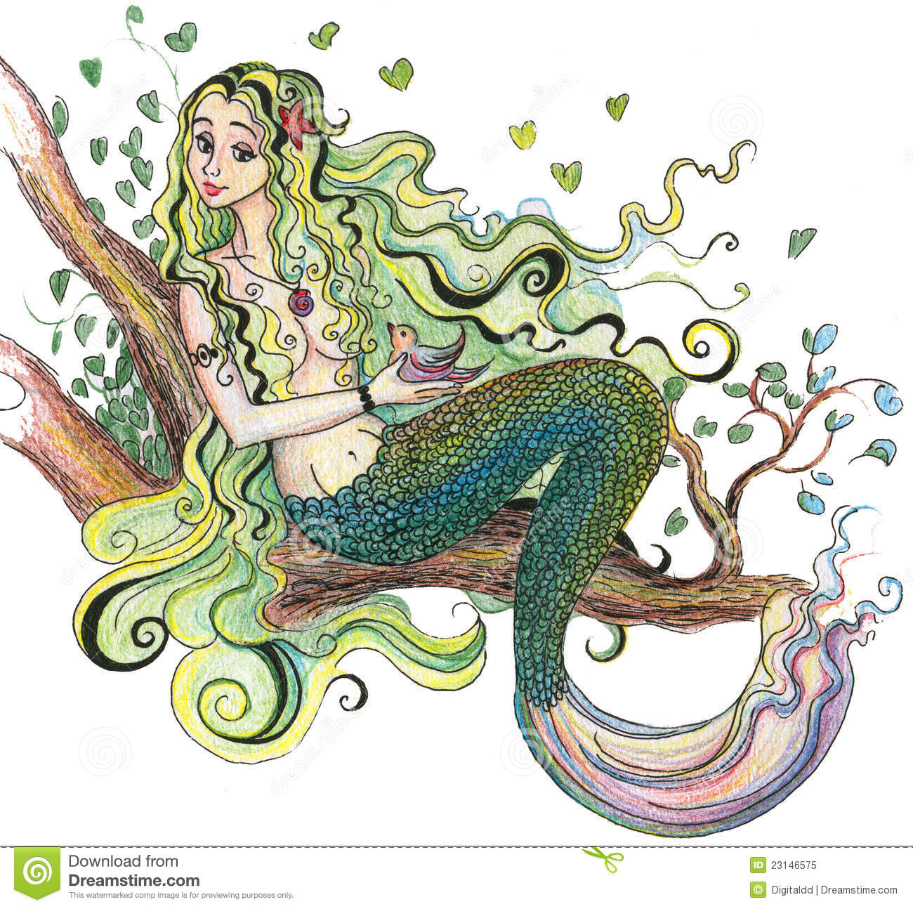 Drawing A Mermaid Stock Illustration Illustration Of