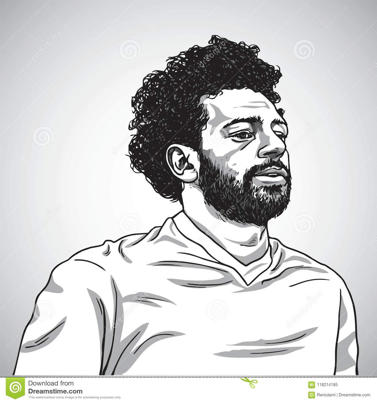Drawing Of Mo Salah Vector Portrait Cartoon Caricature Illustration June 5 2018 Editorial Image Illustration Of Mohamed Icon 118214185