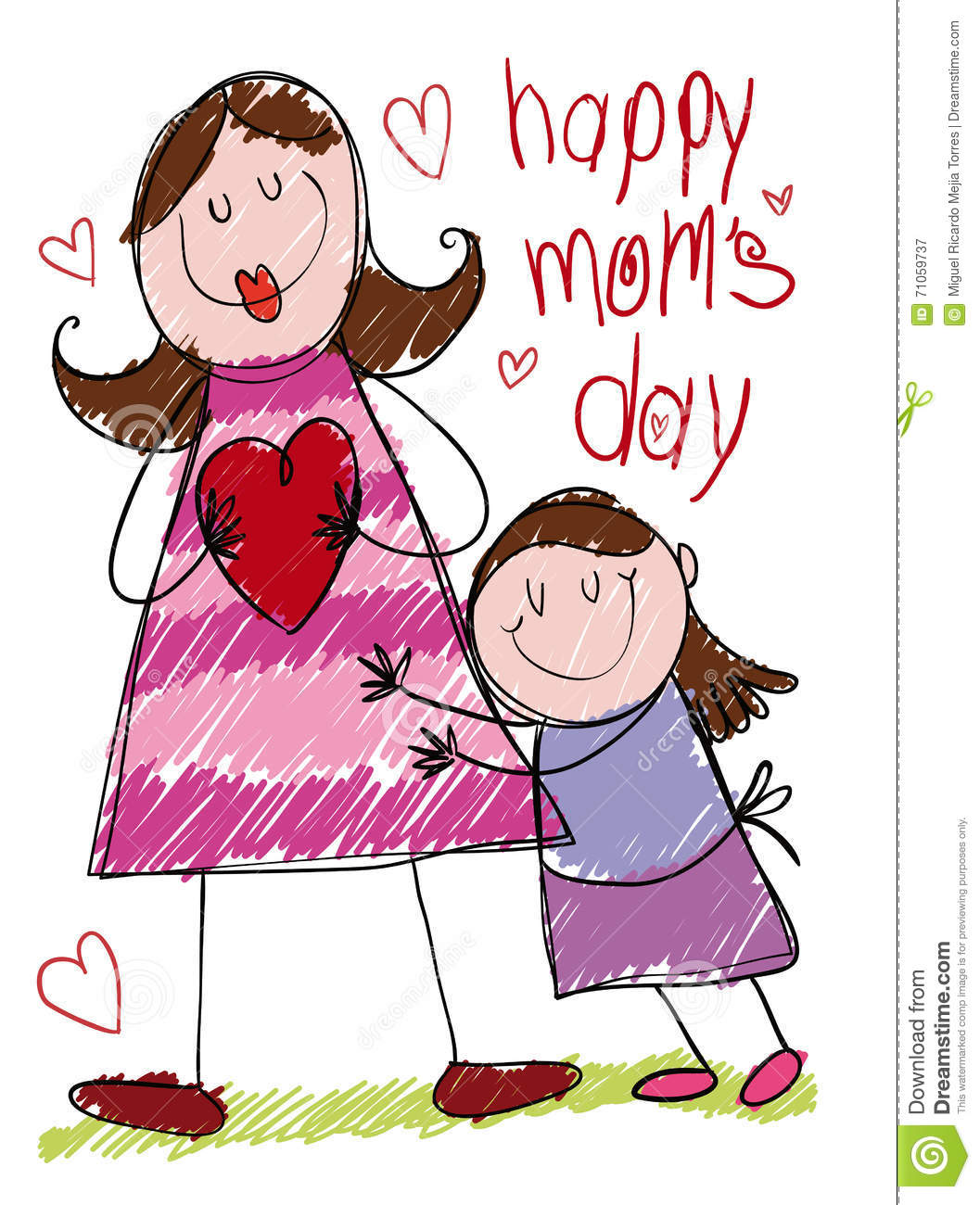 Drawing Of A Mom And Daughter Hugging On Mother S Day Vector