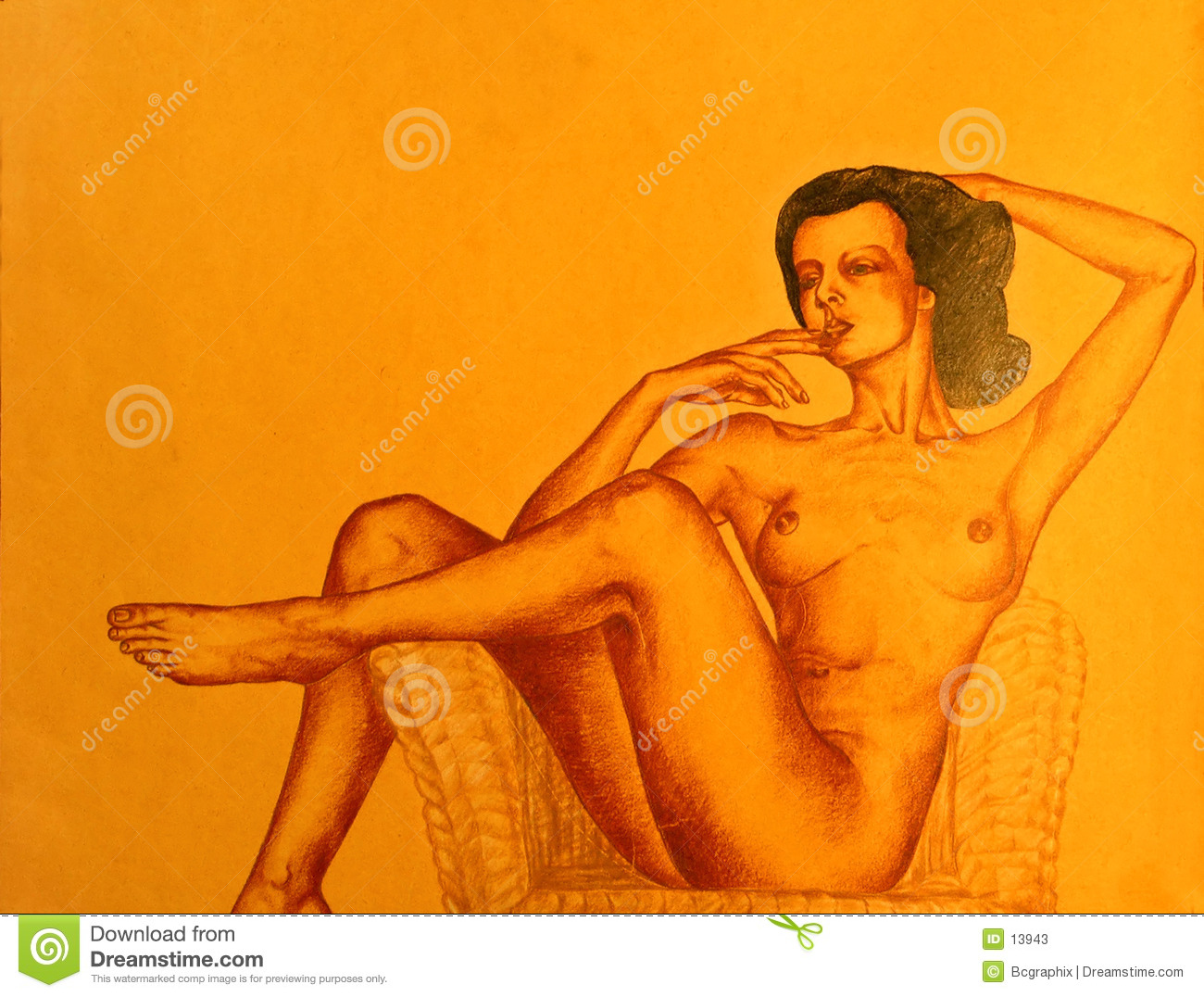 Drawing of naked woman posing