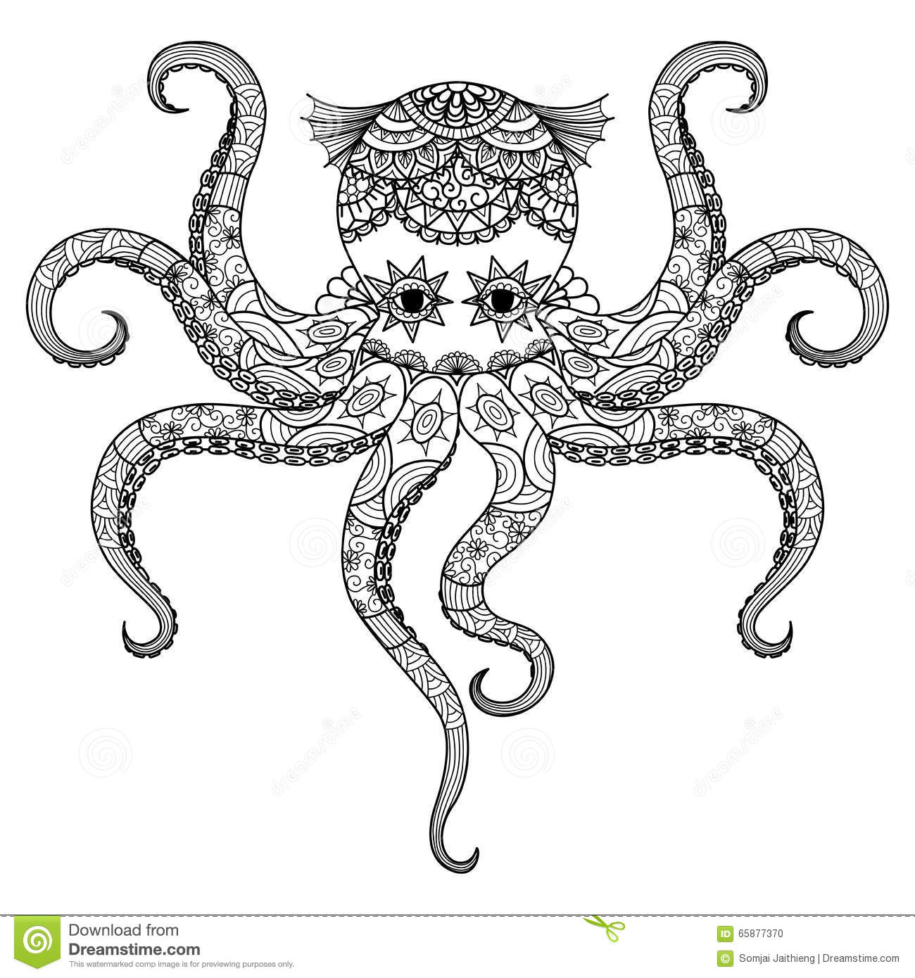 Drawing Octopus Zentangle Design For Coloring Book For Adult Tattoo T Shirt Design And So On