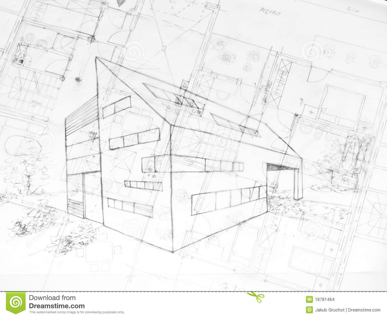 Drawing Od A Modern Building Architecture Plans Stock