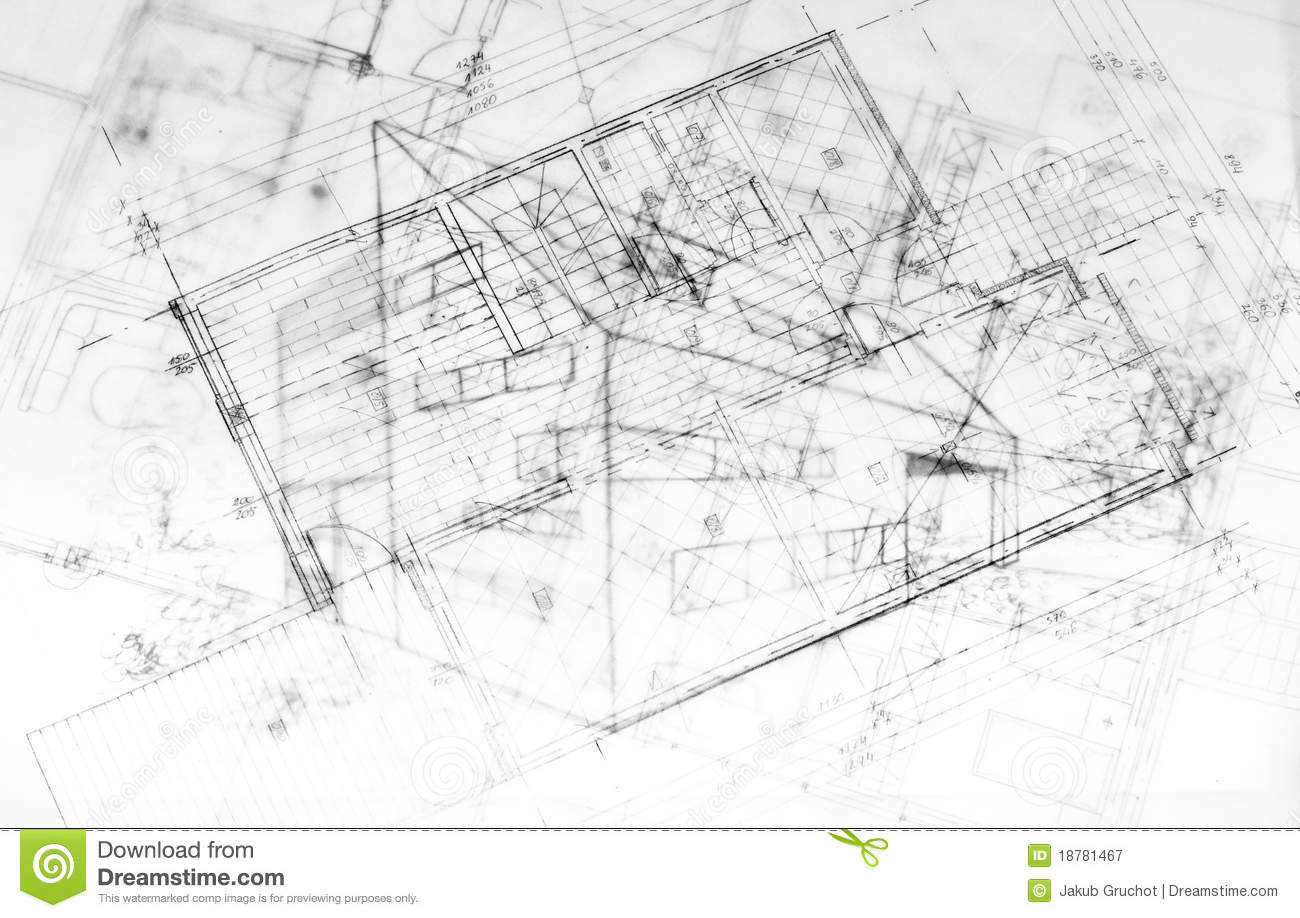 Drawing od a modern building architecture plans stock for Modern architecture plans