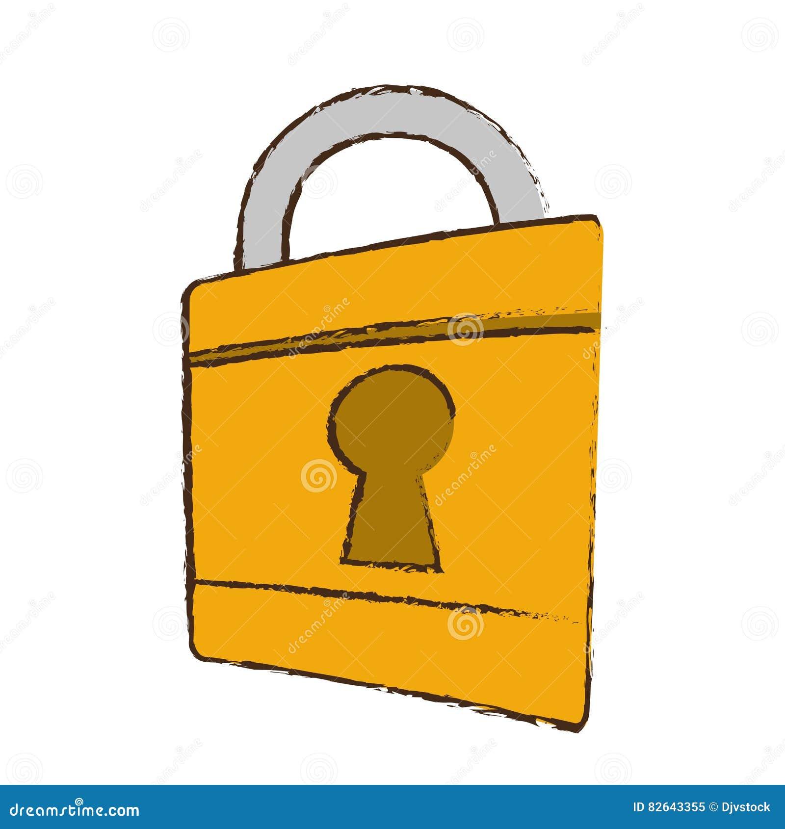 Bank Protection Drawing : Lock drawing vector illustration cartoondealer