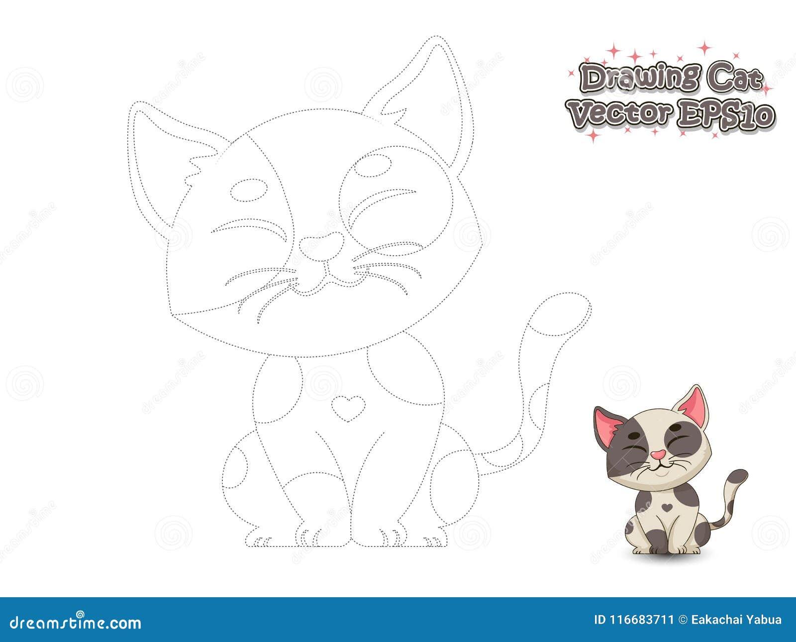 drawing paint cute cartoon cat educational game kids v drawing paint cute cartoon cat educational game kids vector