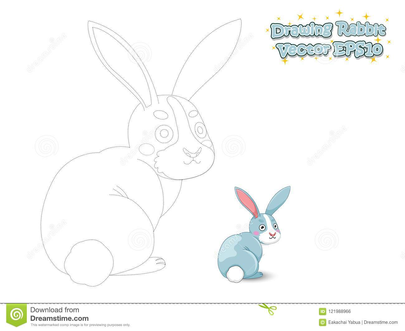Drawing And Paint Cute Cartoon Rabbit Educational Game For Kids