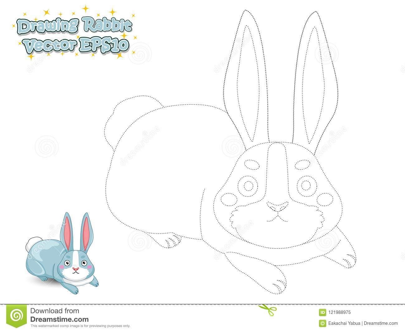 Drawing And Paint Cute Cartoon Rabbit. Educational Game For Kids ...