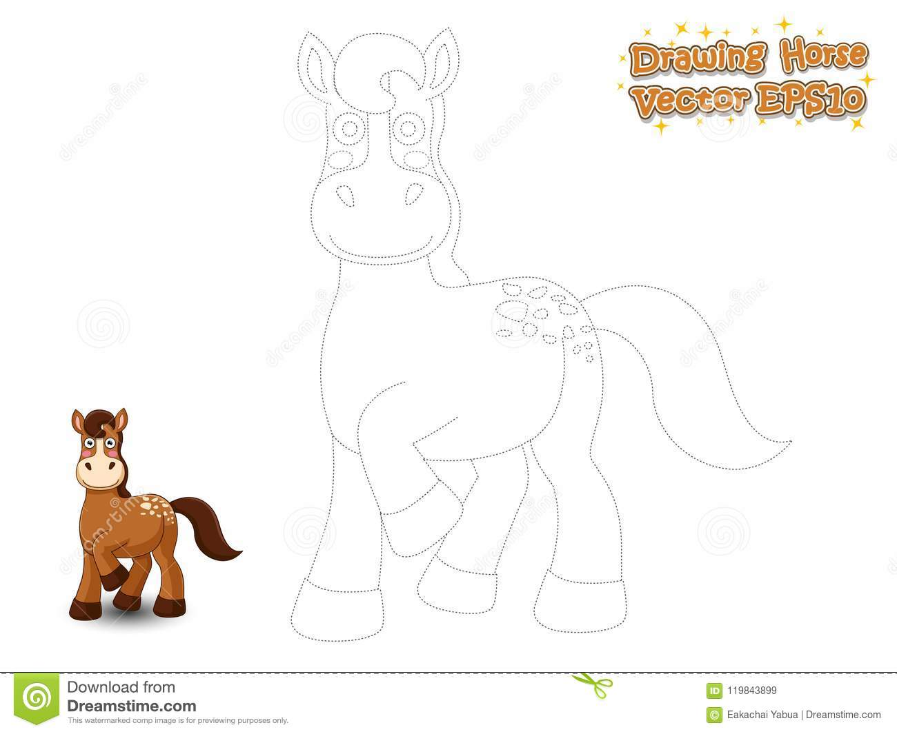 Drawing And Paint Cute Horse Cartoon Educational Game For Kids Stock Vector Illustration Of Activity Join 119843899