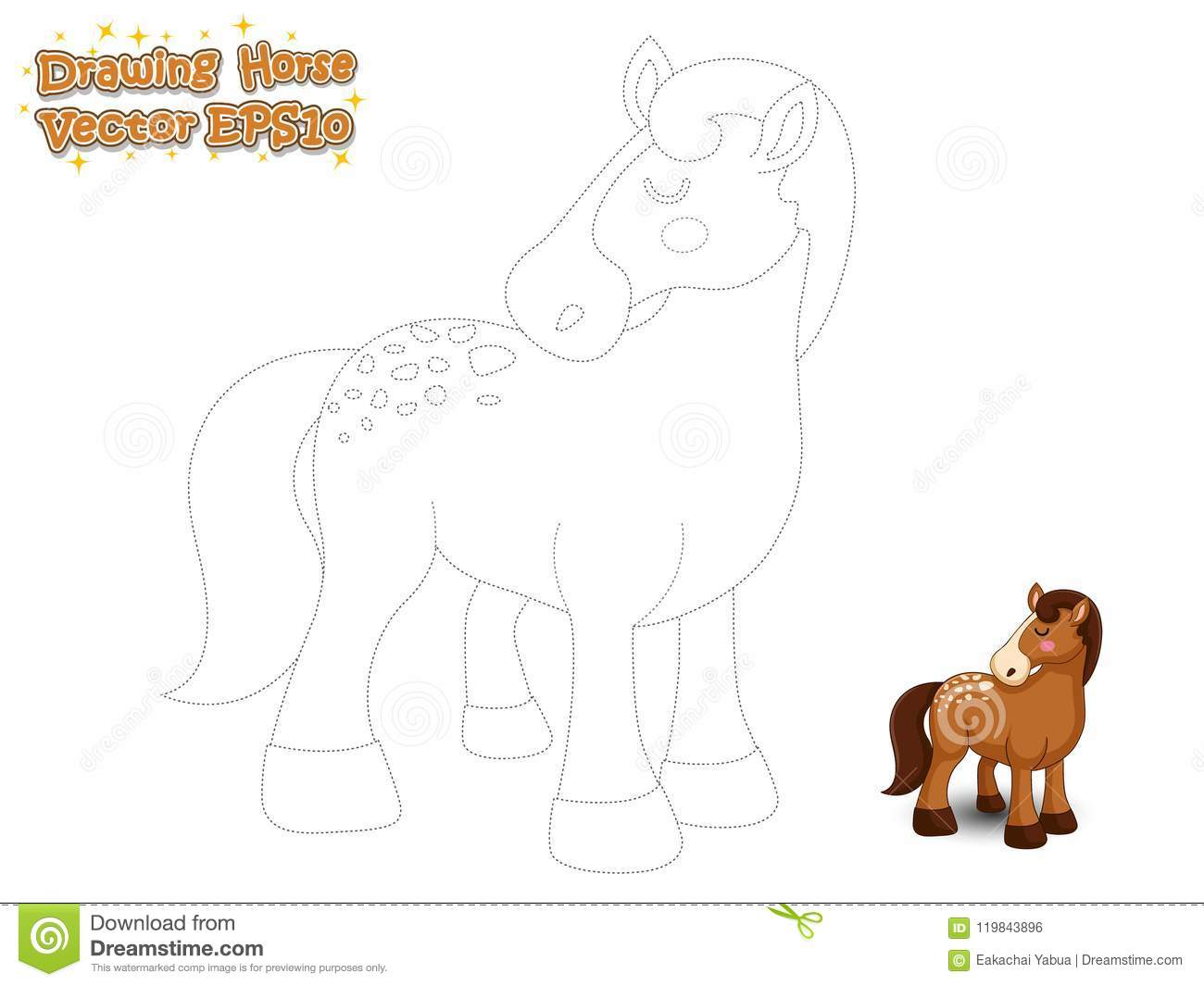 drawing paint cute horse cartoon educational game kids vector illustration