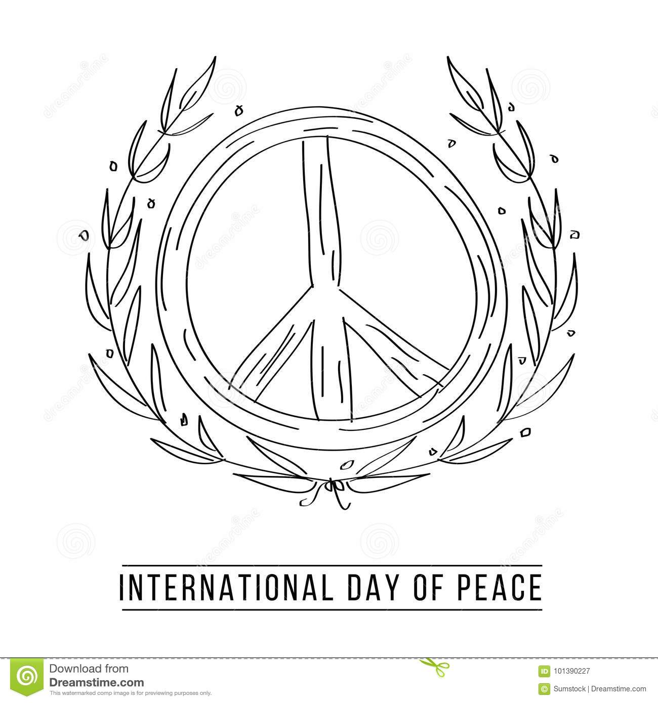 Drawing Of Peace Symbol And Laurel Leaves Stock Vector