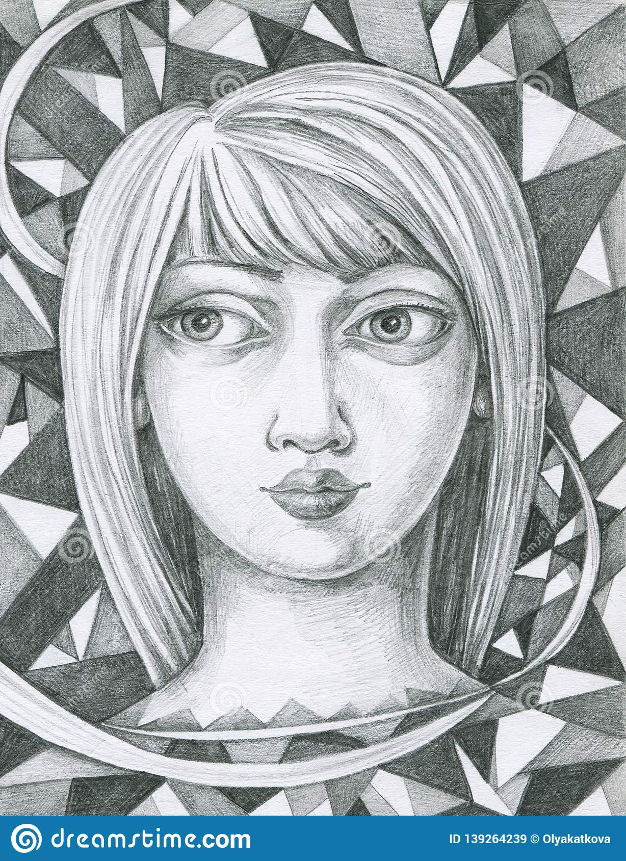 Drawing pencil portrait with abstract background stock