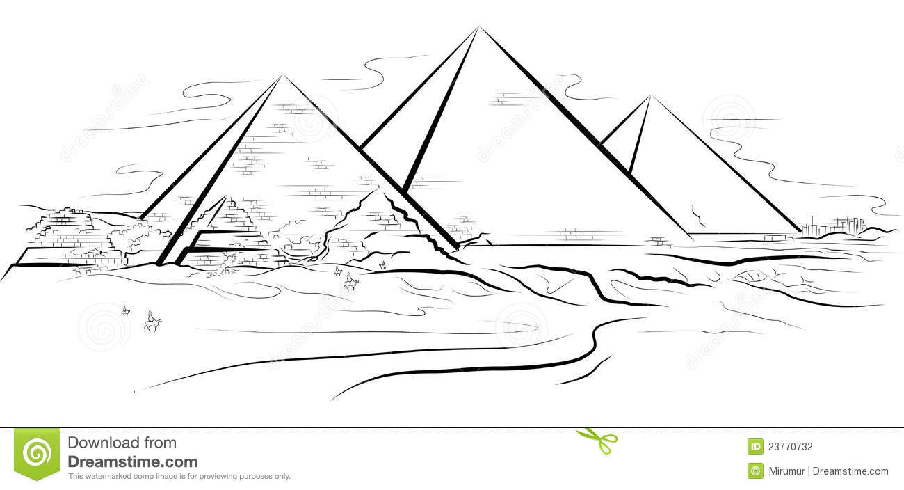 drawing piramids and desert in giza stock vector