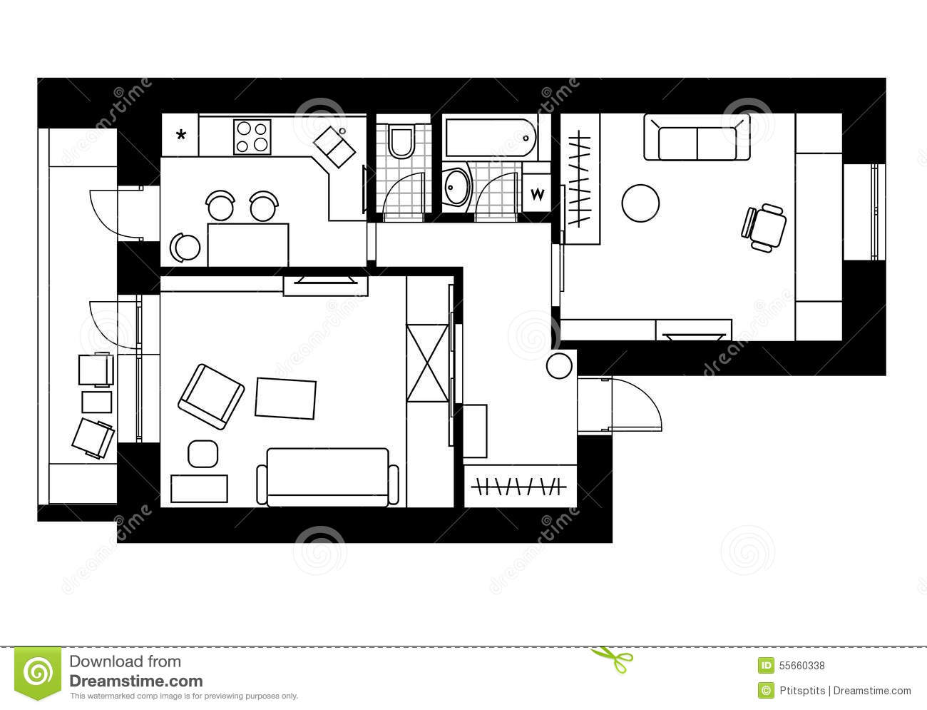 Drawing plan interior of the apartment with one bedroom for Apartment stock plans