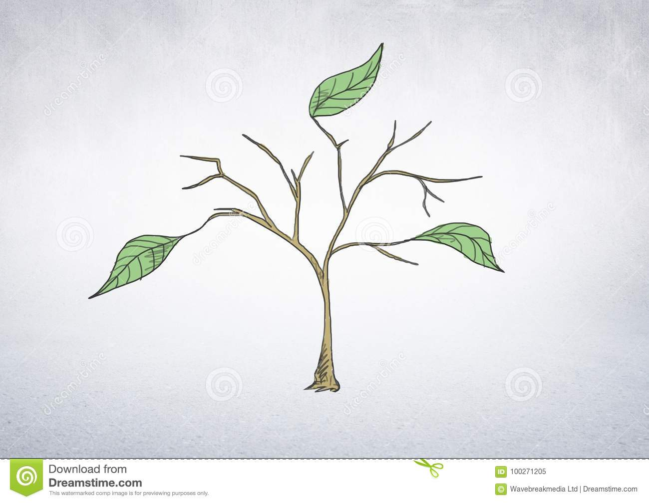 Drawing Of Plant Branches And Leaves On Wall Stock Illustration Illustration Of People Digitally 100271205