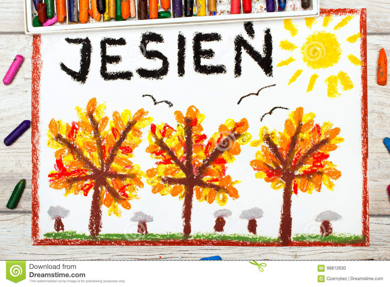 Drawing: Polish word AUTUMN and trees with yellow, red and orange leaves