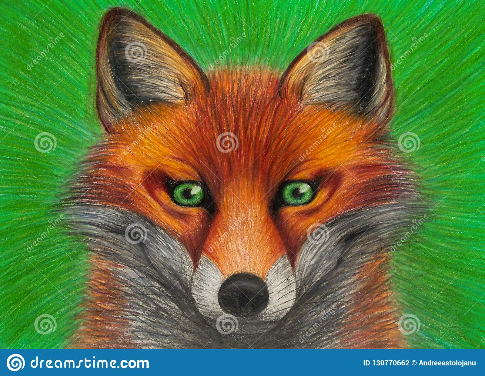 Drawing of portrait of red fox with green eyes on green background, closeup of orange animal, carnivor with beautiful colored fur