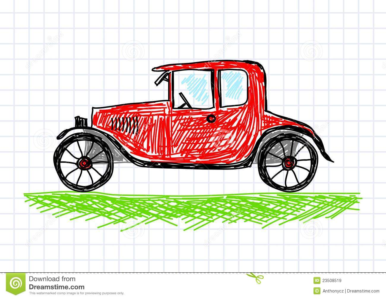 Drawing Of Red Car Royalty Free Stock Images - Image 23508519