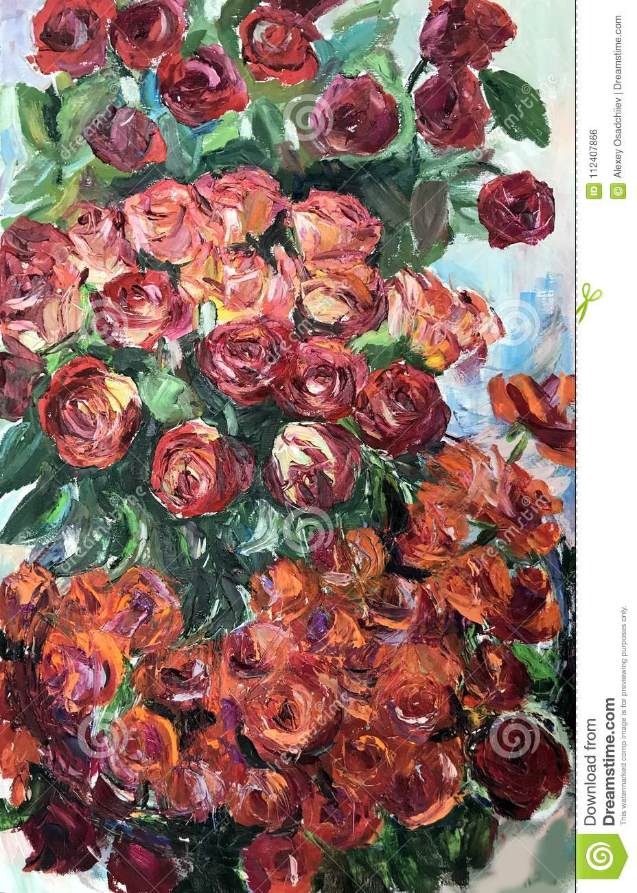 Drawing Of Red Orange Roses Flower Bouquet Stock Photo Image Of